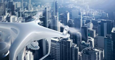 クローズ アップ写真白マット汎用デザイン リモコン空気ドローン アクション カメラの下に空を飛んでいます。モダンなメガポリスの背景。広い、