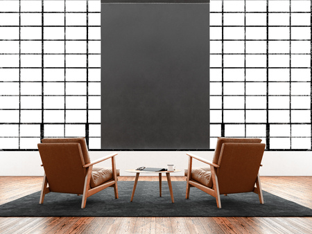 illuminated: Modern interior studio loft huge panoramic window,natural color floor.Generic design furniture in contemporary business conference hall.Chillout lounge zone.Blank black poster hanging. 3D rendering Stock Photo