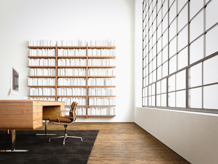Modern studio interior panoramic window,natural wood floor,blank white concrete walls.Generic design furniture,computer contemporary business conference office.Reflections monitor screen.3D rendering Banque d'images