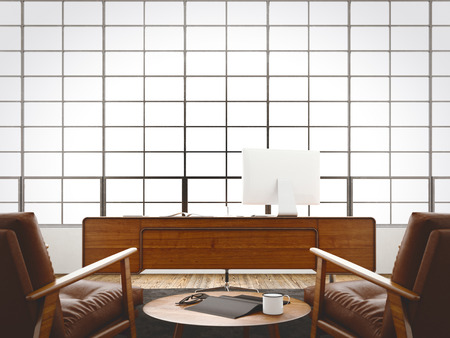 hall monitors: Modern interior cabinet loft with panoramic windows,natural wood floor.Generic design furniture,computer in contemporary business conference office.Blank black book,glasses table.3D rendering Stock Photo
