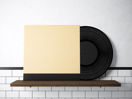 Image vinyl music album template on natural wood bookshelfwhite image vinyl music album template on natural wood bookshelfwhite painted bricks wall background maxwellsz
