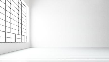 Leere modernen Tagungsraum riesige Panoramafenster, weiß lackiert Holzboden, Beton leer walls.Generic Design-Interieur in der zeitgenössischen Konferenz hall.Open Raumgeschäft idea.Horizontal.3D Rendering