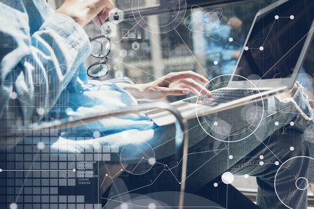 info tech: Woman Touching Keyboard Laptop Hand.Project Manager Researching Process.Business Team Working Startup modern Office.Global Strategy Virtual Icon.Innovation Chart Interface.Analyze market stock.Blurred