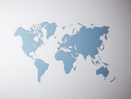 Blank bleu Texture politique Carte du monde. rendu 3D. Empty béton fond mur. Matériaux de lignes de texture élevée. Mockup prêt pour l'information commerciale. Horizontal Banque d'images - 60715384