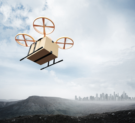 drones: Photo Yellow Color Generic Design Remote Control Air Drone Flying Sky Blank Craft Box Under Earth Surface.Modern City Background.Global Logistic Express Delivery.Square,Bottom Angle View.3D rendering