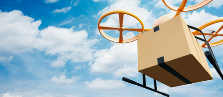 Photo Yellow Generic Design Modern Remote Control Air Drone Flying Empty Craft Box Under Urban Surface.Blue Sky Clouds Background.Express Fast Delivery Service.Wide,Angle View.Film Effect.3D rendering Stock Photo