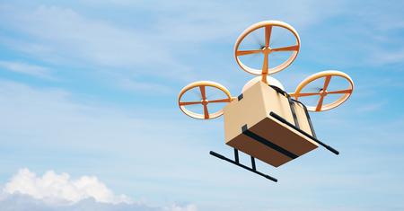 délivrance: Photo Yellow Generic Design moderne à distance de contrôle aérien Drone Voler Empty Box Craft Sous Urban Surface.Blue Sky Clouds Background.Express Fast Delivery Service.Side Angle View.Film Effect.3D rendu