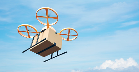 Photo Yellow Generic Design Modern Remote Control Air Drone Flying Empty Craft Box Under Urban Surface.Blue Sky Clouds Background.Express Fast Delivery Service.Left Angle View.Film Effect.3D rendering Stock Photo