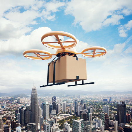 Photo Yellow Generic Design Remote Control Air Drone Flying Sky Empty Craft Box Under Urban Surface.Modern City Background.Online Goods Express Delivery.Square,Left Side View.Film Effect.3D rendering Stock Photo