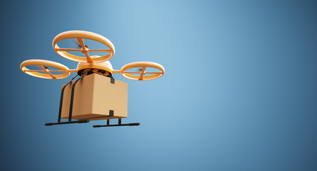Photo Orange Color Material Generic Design Remote Control Air Drone Flying Craft Box Under Empty Surface.Blank Blue Background.Global Cargo Express Delivery.Wide,Left Side Angle View.3D rendering