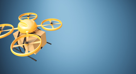 craft material: Photo Orange Color Material Generic Design Remote Control Air Drone Flying Craft Box Under Empty Surface.Blank Blue Background.Global Cargo Express Delivery.Wide,Top Angle View.3D rendering Stock Photo