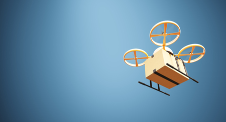 craft material: Photo Orange Color Material Generic Design Remote Control Air Drone Flying Craft Box Under Empty Surface.Blank Blue Background.Global Cargo Express Delivery.Wide,Bottom Angle View.3D rendering