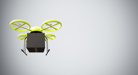 drones: Green Color Material Generic Design Remote Control Air Drone Flying Black Box Under Empty Surface.Blank White Background.Global Cargo Express Delivery.Wide,Motion Blur effect.Front View.3D rendering Stock Photo