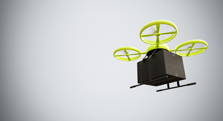 Green Color Material Generic Design Remote Control Air Drone Flying Black Box Under Empty Surface.Blank White Background.Global Cargo Express Delivery.Wide,Motion Blur.Right Side View. 3D rendering Stock Photo