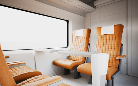 firstclass modern armchair. Empty Comfortable Modern Orange Color Leather Armchair Inside Business  Class Cabin Fast Speed Train White Interior First Express Nobody