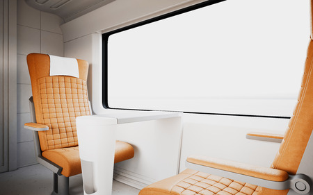 compartments: Comfortable Modern Orange Color Leather Armchair Inside First Class Cabin Fast Speed Train.Empty White Window Generic Design Interior Background.Blank Canvas Business Information.Mockup.3d rendering