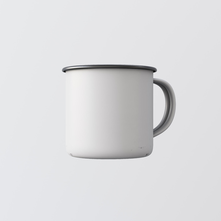 One Blank White Color Metal Coffee Mug Isolated Empty Background. Clean Enamel Cup Mockup Ready Corporate Design Message.Vintage Style.Horizontal Studio Shooting Side View. 3d rendering