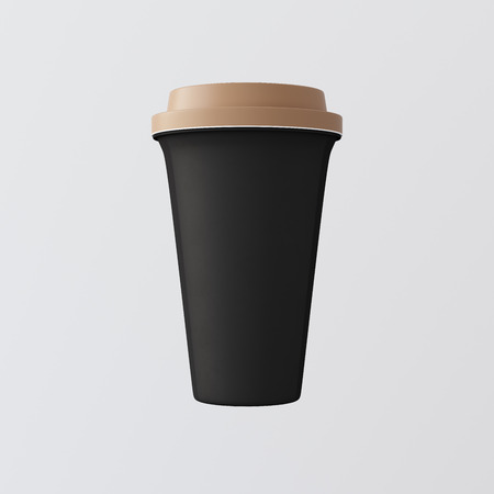 Black Plastic Paper Coffee Cup White Background.One Take Away Cardboard Mug Closed Color Cap Isolated.Retail Mockup Presentation.Ready Business Message. 3d rendering