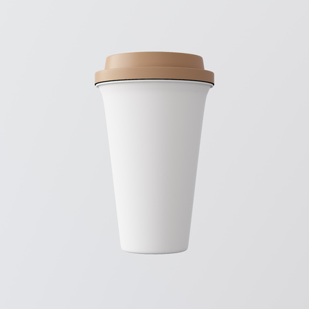 White Plastic Paper Coffee Cup Gray Background.One Take Away Cardboard Mug Closed Color Cap Isolated.Retail Mockup Presentation.Ready Business Message. 3d rendering