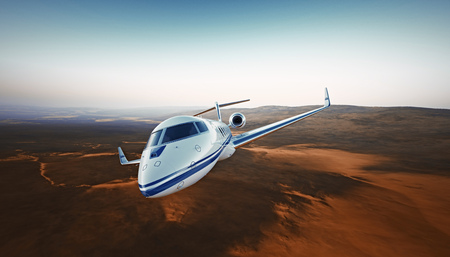 corporate airplane: Realistic Photo White Luxury Generic Design Private Airplane Jet Flying Over the Mountains.Empty Blue Sky with Sun at Background. Business Travel Concept. Horizontal. 3D rendering Stock Photo