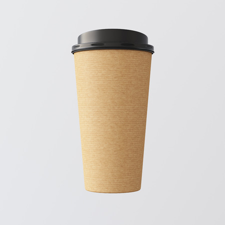 craft paper: Blank Craft Paper Coffee Cup Empty White Background.One Take Away Cardboard Mug Closed Black Cap Isolated.Retail Mockup Presentation.Corporate Business Message. 3d rendering