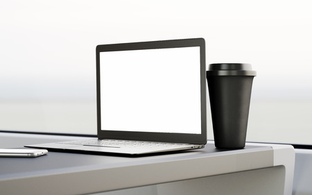 first class: Modern Laptop Blank Screen Table Black Take Away Cup Inside Interior First Class Cabin Fast Speed Train.Empty Window Generic Design Notebook.Clear White Display Business Info.Crop Mockup 3d rendering Stock Photo
