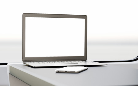 first class: Modern Laptop Blank Screen Table Inside Interior First Class Cabin Fast Speed Train.Empty Window Generic Design Notebook Background.Clear White Display Business Information.Crop Mockup.3d rendering
