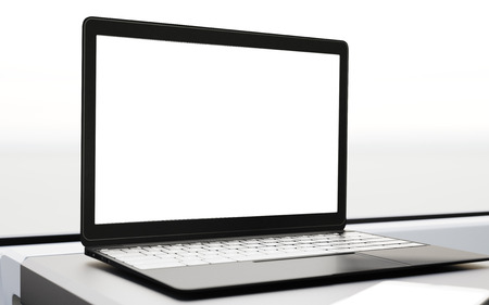 first class: Closeup Modern Laptop Blank Screen Table Inside Interior First Class Cabin Fast Speed Train.Empty Window Generic Design Notebook Background.Clear White Display Business Information.Mockup.3d rendering Stock Photo