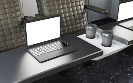 first class: Black Modern Laptop Blank Screen Table Inside Interior First Class Cabin Fast Speed Train.Empty Window Generic Design Coffee Cups Background.Clear White Display Business Info Crops Mockup 3d rendering