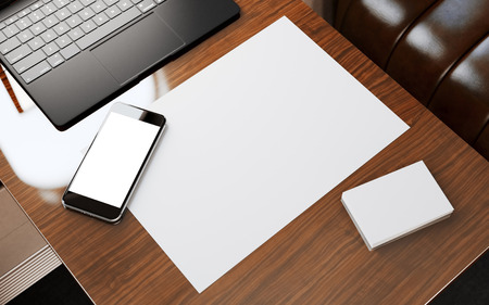 first class: Modern Smartphone Blank Screen Wood Table Inside Interior First Class Airplane Jet.Empty White Business Card Ready Corporate Information.Nobody Cabin Generic Design Notebook.Crops Mockup.3d rendering