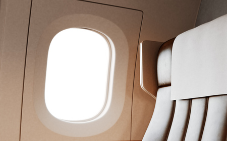 illuminator: Empty Leather Chair Background Inside Interior First Class Airplane Private Jet.Blank White Illuminator Mockup Ready Corporate Information.Nobody Generic Design Cabin Crops.3d rendering