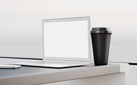 first class: Modern Laptop Blank Screen Table Black Take Away Cup Inside Interior First Class Cabin Fast Speed Train.Empty Window Generic Design Notebook.Clear White Display Business Info.Crops Mockup.3d rendering