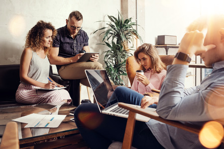 Group Modern Young Business People Gathered Together Discussing Creative Project.Coworkers Meeting Communication Discussion Working Office Startup Concept.Businessman Work Laptop.Flares Background Stock Photo