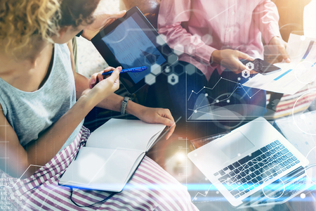 Closeup Global Connection Virtual Icon Graph Interface Markets Research.Coworkers Team Brainstorming Meeting Online Business Electronic Gadget.Businessman Startup Digital Project. Blurred Background Imagens