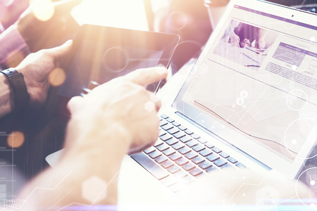 business innovation: Global Strategy Virtual Icon Innovation Graph Interfaces.Coworkers Making Hand Business Solution.Marketing Team Discussion Corporate Work Concept Office.Startup Creative Idea Touching Screen.Closeup Stock Photo