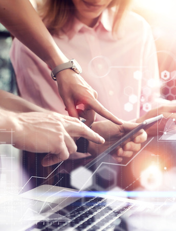 Global Connection Virtual Icon Graph Interface Online Market Research.Young Coworkers Team Analyze Meeting Report.Business Woman Startup Project.People Making Great Decisions Office.Closeup Blurred Stock Photo