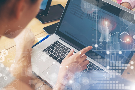 Woman Working Modern Desktop Notebook Wood Table Concept.Account Manager Researching Process.Business Team Startup Croworking People Sharing Office.Global Strategy Virtual Icon Graph Interface.Closeup 写真素材