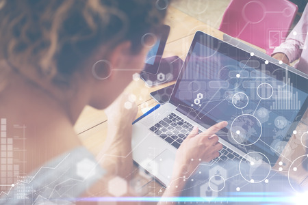 Woman Working Modern Desktop Notebook Wood Table Concept.Account Manager Researching Process.Business Team Startup Croworking People Sharing Office.Global Strategy Virtual Icon Graph Interface.Blurred Archivio Fotografico