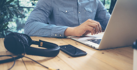wood trade: Businessman Working Modern Desktop Laptop Wood Table.Sucess Manager Researching Process Devices.Business Team Startup Croworking People Sharing Office.Analyze Trade Market Stock Screen Online.Blurred Stock Photo