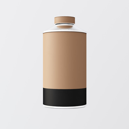 metalware: Closeup One Blank Brown Black Matte Color Metal Jar Isolated Empty Background.Clean Cup Container Mockup Ready Use Corporate Design Message.Modern Style Drinks Food Storage.Square. 3d rendering