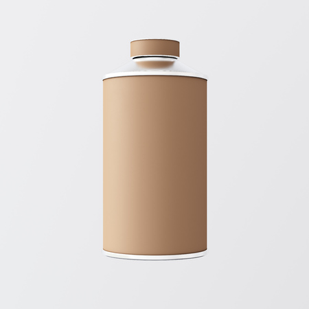 airtight: Closeup One Blank Brown Matte Color Metal Jar Isolated Empty Background.Clean Cup Container Mockup Ready Use Corporate Design Message.Modern Style Drinks Food Storage.Square. 3d rendering