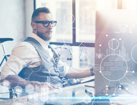 financial concept: Concept Global Strategy Virtual Icon Diagram Graph Interface Innovations Reserch.Bearded Businessman Making Great Business Decisions.Young Man Working Startup Project. Blurred Flares Effect