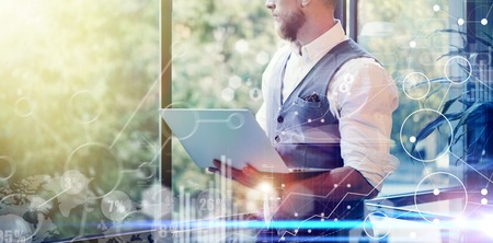 Concept Global Strategy Virtual Icon Diagram Graph Interface Investments Reserch.Bearded Businessman Searching Great Business Decisions.Young Man Holding Laptop Hands Looking Panoramic Window.Wide