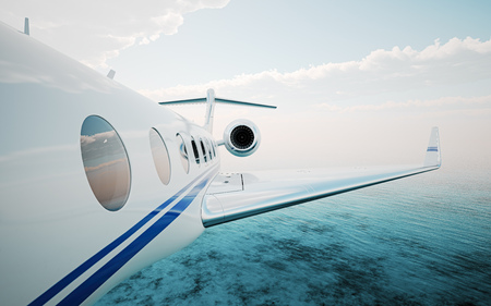 Closeup of realistic photo white, luxury generic design private jet flying over the ocean.Modern airplane and white clouds in a sky on background. Business travel concept. Horizontal. 3d rendering