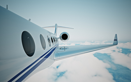 Closeup of realistic photo white, luxury generic design private jet flying over the earths surface.Modern airplane and empty blue sky on background. Business travel concept. Horizontal. 3d rendering