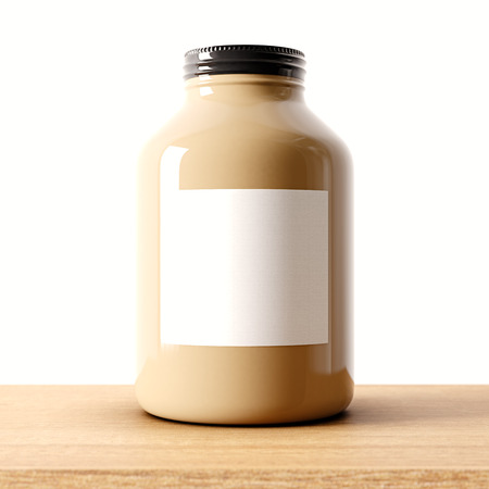 airtight: Closeup of one blank brown color glass jar on the wood desk and white wall background.Empty glassy container and gray mockup label in center.Drinks,food storage concept.3d rendering