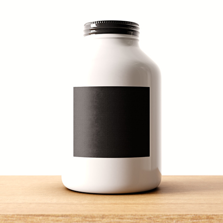 airtight: Closeup of one blank not transparent white glass jar on the wood desk and clear wall background.Empty glassy container , black mockup label in center.Drinks,food storage concept.3d rendering Stock Photo