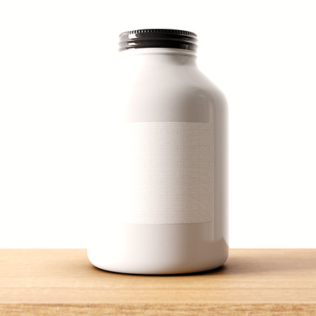 food storage: Closeup of one blank not transparent white glass jar on the wood desk and clear wall background.Empty glassy container , mockup label in center.Drinks,food storage concept.3d rendering
