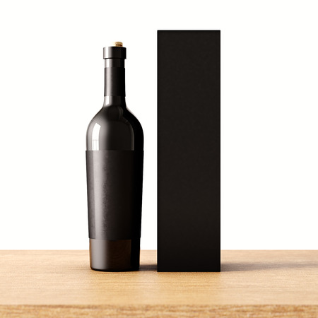 paper bag: Closeup one not transparent gray glass bottle of wine on the wooden desk, white wall background.Empty glassy container concept and mockup black paper bag for bottles.3d rendering. Front view