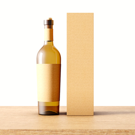 Closeup one transparent glass bottle of wine on the wooden desk, white wall background.Empty glassy container concept with craft mockup label and carton paper bag for bottles.3d rendering. Front view Stock Photo